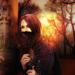 Пазл онлайн: Девушка с веером