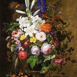 Пазл онлайн: Натюрморт с цветами и  вишнями