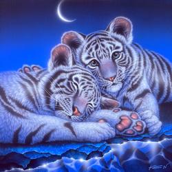 Пазл онлайн: Усталые тигрята