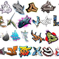 Пазл онлайн: Алфавит в стиле графити