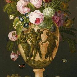 Пазл онлайн: Букет цветов в греческой вазе