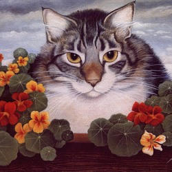 Пазл онлайн: Серьезный кот