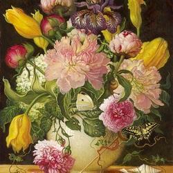 Пазл онлайн: Пионы и тюльпаны