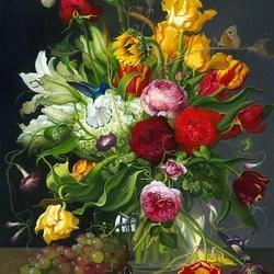 Пазл онлайн: Букет цветов и колибри