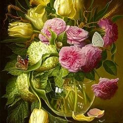 Пазл онлайн: Желтые тюлпаны и розы