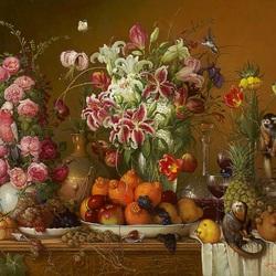 Пазл онлайн: Лилии, фрукты и обезьянки