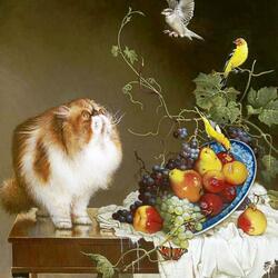 Пазл онлайн: Натюрморт с котом и канарейками