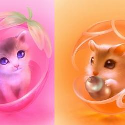 Пазл онлайн: Котенок и хомячок