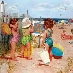 Пазл онлайн: Маленькие пляжницы