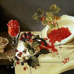 Пазл онлайн: Натюрморт с ягодами