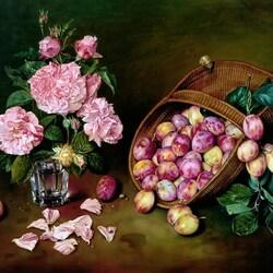 Пазл онлайн: Натюрморт со сливами и розами