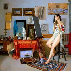 Пазл онлайн: Натурщица в мастерской художника