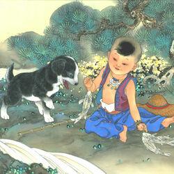 Пазл онлайн: Зодиак для детей. Год собаки