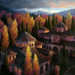 Пазл онлайн: Осень в Альгамбре