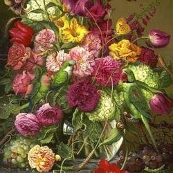 Пазл онлайн: Букет цветов с попугаями