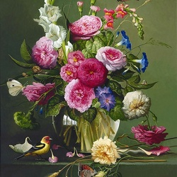 Пазл онлайн: Букет цветов с бабочками