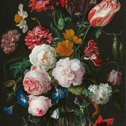 Пазл онлайн: Букет цветов в стеклянной вазе
