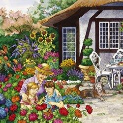 Пазл онлайн: Сад полный цветов