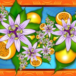 Пазл онлайн: Гирлянда из цветов и фруктов