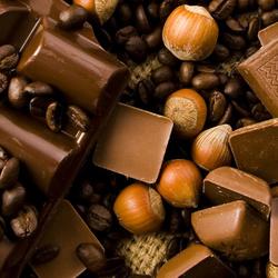 Пазл онлайн: Шоколад, орехи, кофе