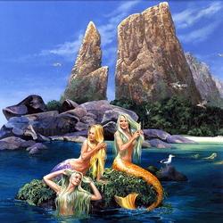 Пазл онлайн: Длинноволосые русалки