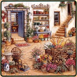 Пазл онлайн: Распродажа цветов во внутреннем дворике