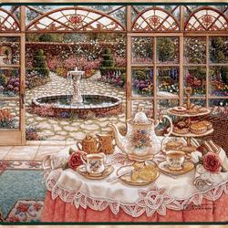 Пазл онлайн: Чай на застекленной террасе