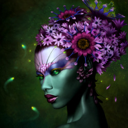 Пазл онлайн: Цветочная леди