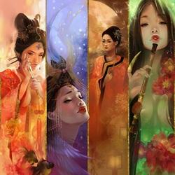 Пазл онлайн: Четыре красавицы