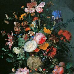 Пазл онлайн: Натюрморт с цветами и ящерицей