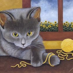 Пазл онлайн: Серый котенок