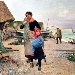 Пазл онлайн: Семья рыбака