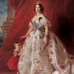 Пазл онлайн: Портрет королевы Испании Изабеллы II с дочерью Изабеллой