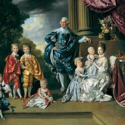 Пазл онлайн: Георг III, королева Шарлотта и их шестеро старших детей