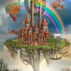 Пазл онлайн: Радужный замок