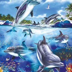 Пазл онлайн: Играющие дельфины