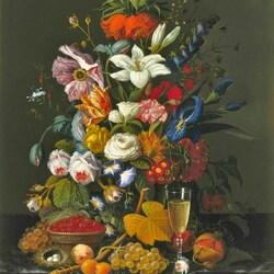 Пазл онлайн: Натюрморт с цветами ,фруктами и вином