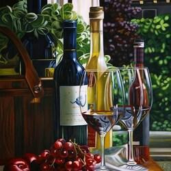 Пазл онлайн: Натюрморт с вином и вишнями