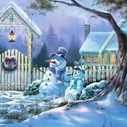 Пазл онлайн: Снеговики