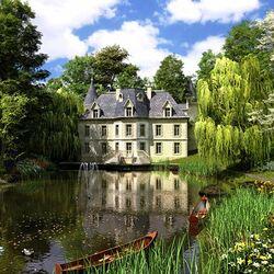 Пазл онлайн: Водный сад у замка