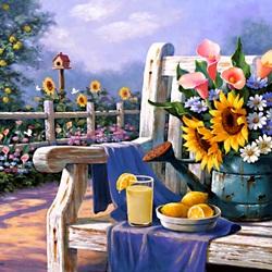 Пазл онлайн: Цветы на скамейке