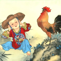 Пазл онлайн: Зодиак для детей. Год петуха