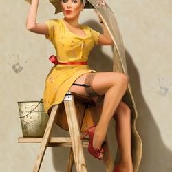 Пазл онлайн: Юлия Началова в стиле Pin Up