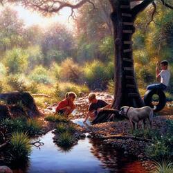 Пазл онлайн: Дети у ручья