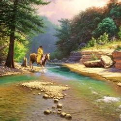 Пазл онлайн: Всадник у реки