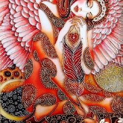 Пазл онлайн: Витражная роспись. Сон ангела