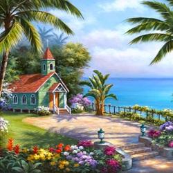Пазл онлайн: Церковь у моря