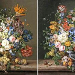 Пазл онлайн: Букеты цветов с попугаями