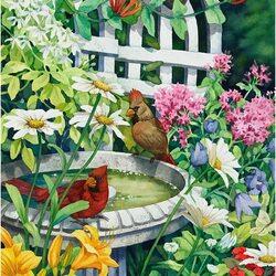Пазл онлайн: Птичий фонтанчик в саду