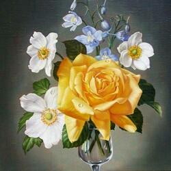 Пазл онлайн: Желтая роза в бокале